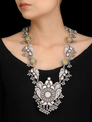 Tribal Silver Necklace with Hand-painted Lord Ganesha Motif