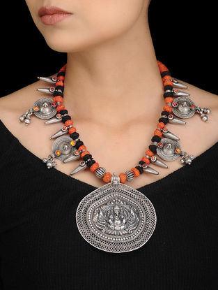 Orange-Black Tribal Silver Thread Necklace