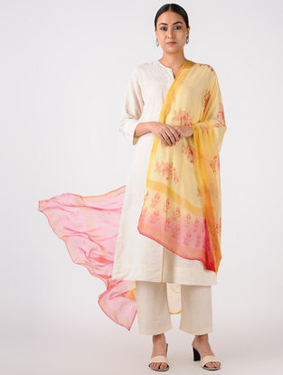 Yellow-Red Printed Chiffon Dupatta