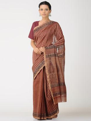 Red-Brown Kalakshetra Block printed Chanderi Saree with Zari Border