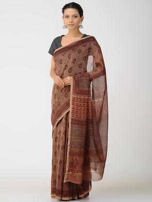 Brown-Maroon Kalakshetra Block printed Chanderi Saree with Zari Border