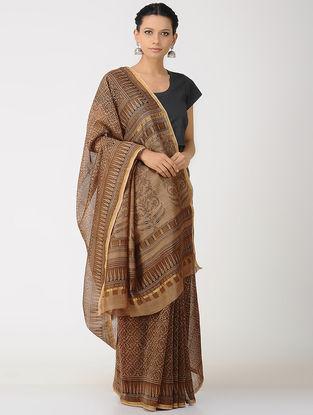 Beige-Brown Kalakshetra Block printed Chanderi Saree with Zari Border