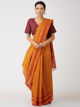 Red-Orange Kalakshetra Cotton Saree with Woven Border