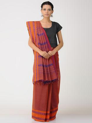 Orange-Purple Kalakshetra Cotton Saree with Woven Border