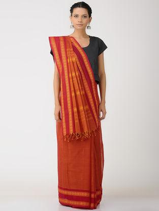 Orange-Red Kalakshetra Cotton Saree with Woven Border