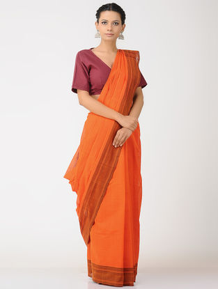 Orange-Maroon Kalakshetra Cotton Saree