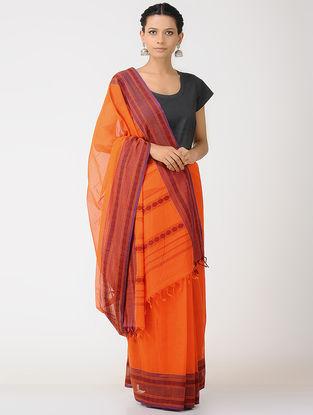 Orange-Maroon Kalakshetra Cotton Saree with Woven Border