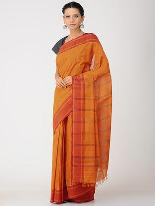 Orange-Red Kalakshetra Cotton Saree