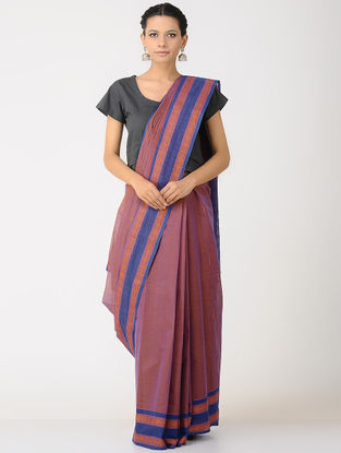 Pink-Blue Kalakshetra Cotton Saree with Woven Border