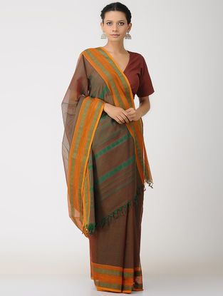 Brown-Green Kalakshetra Cotton Saree with Woven Border