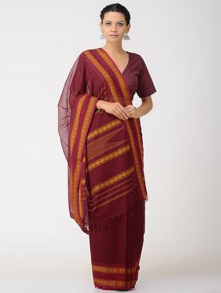 Maroon-Orange Kalakshetra Cotton Saree with Woven Border