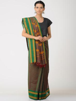 Green-Brown Kalakshetra Cotton Saree with Woven Border