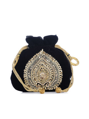 Black Hand-Embroidered Velvet Potli