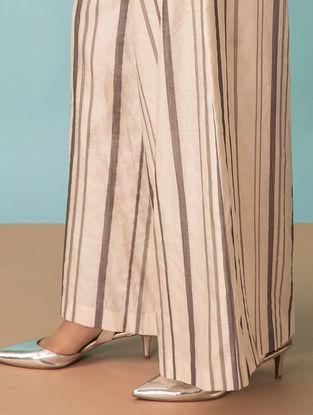 Ivory Striped Handwoven Chanderi Pants