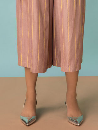 Taupe Striped Handwoven Cotton-Silk Pants