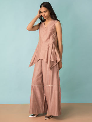 Taupe Hand-embroidered Handwoven Cotton-Silk Pants