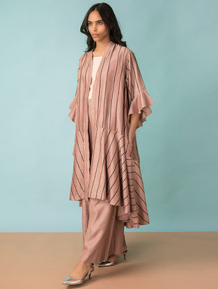 Taupe Hand-embroidered Handwoven Chanderi Reversible Coat