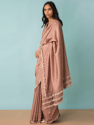 Taupe Hand-embroidered Handwoven Chanderi Saree