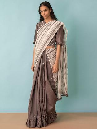 Grey Embroidered Handwoven Chanderi Saree