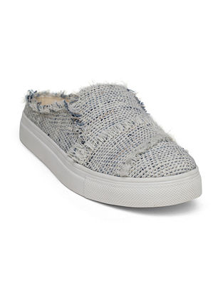 Blue-Grey Handcrafted Linen Shoes