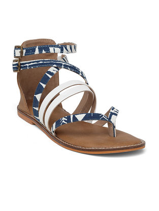 Blue-White Handcrafted Canvas Sandals