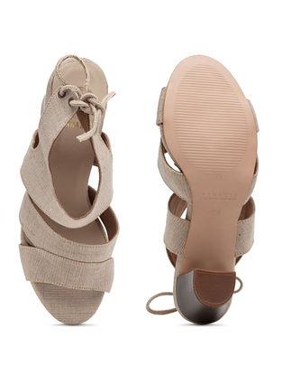 Beige Handcrafted Block Heels