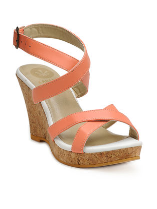 Peach Handcrafted Cork Wedges