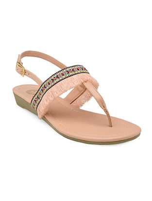 Pink Thread-Embroidered Sandals with Embellishments