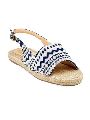 Ivory-Blue Hand-Crafted Canvas Flats
