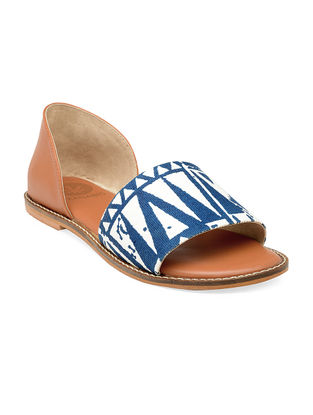 Blue-Tan Hand-Crafted Canvas Flats