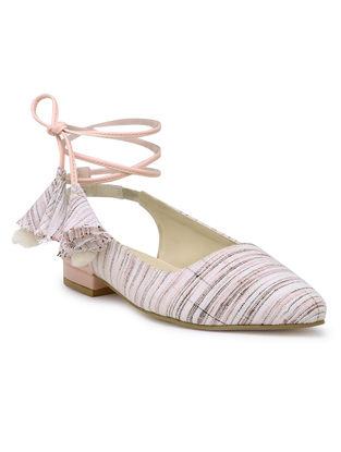 Pink-White Handcrafted Jacquard Sandals