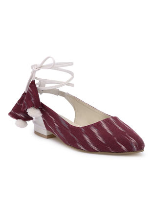 Maroon Handcrafted Jacquard Sandals