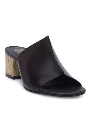Black Handcrafted Jute Block Heels