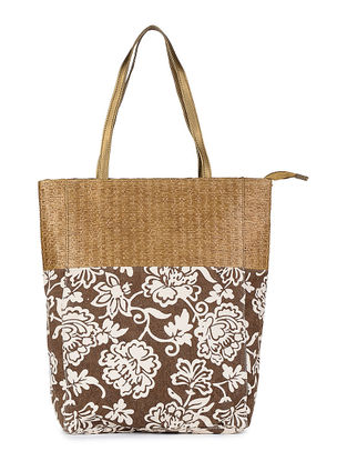 Brown-White Floral Printed Canvas and Leather Tote
