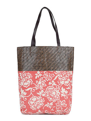 Red-White Floral Printed Canvas and Leather Tote