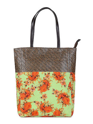 Green-Orange Floral Printed Canvas and Leather Tote