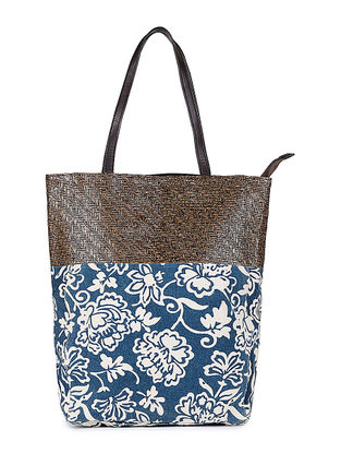 Blue-White Floral Printed Canvas and Leather Tote