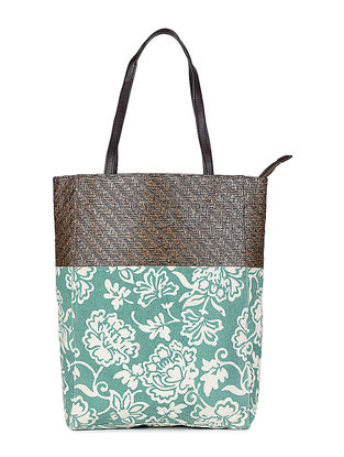Green-White Floral Printed Canvas and Leather Tote