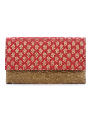 Red-Brown Brocade Cane Clutch