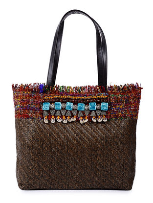 Brown Handcrafted Cane and Silk Tweed Tote with Metal Embellishments