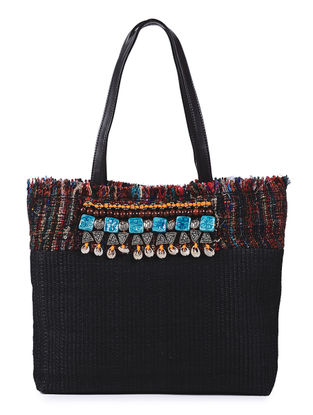 Black Handcrafted Cane and Silk Tweed Tote with Metal Embellishments
