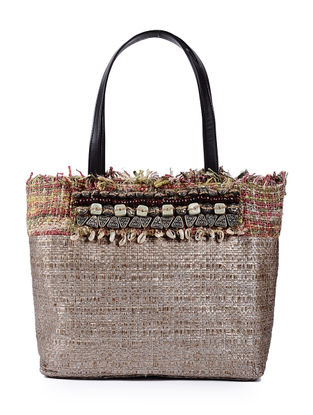 Golden Handcrafted Cane and Silk Tweed Tote with Metal Embellishments