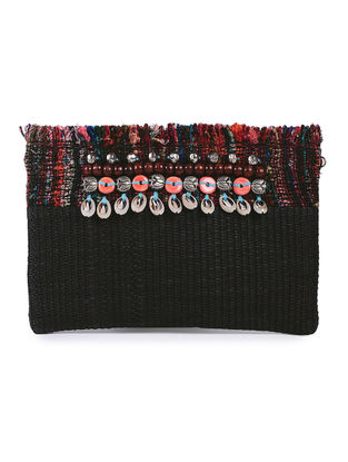 Black Handcrafted Cane and Silk Tweed Pouch with Metal Embellishments