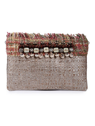 Golden Handcrafted Cane and Silk Tweed Pouch with Metal Embellishments