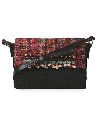 Black Handcrafted Cane and Silk Tweed Sling Bag with Metal Embellishments