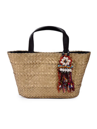 Gold Handcrafted Cane Basket with Tassel