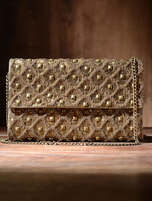 Golden Silk and Leather Clutch with Zari and Sequins