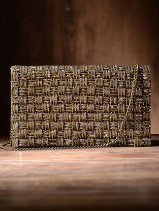 Golden Silk and Leather Clutch with Sequins