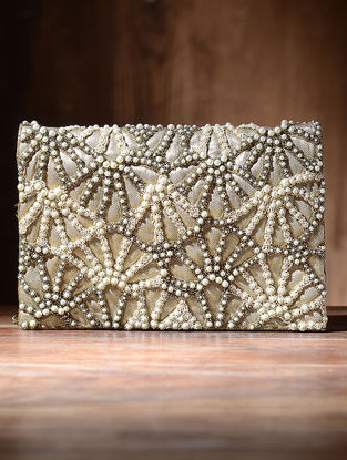 Golden Silk and Leather Clutch with Beads and Pearls