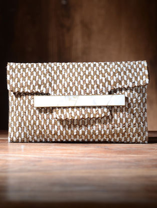 White-Golden Silk and Leather Clutch with Mother of Pearl